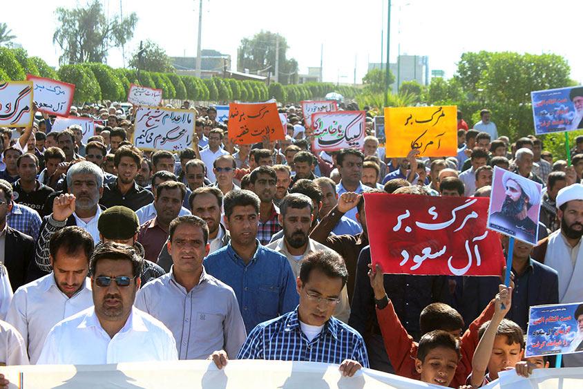 گزارش تصویری/ راهپیمایی اعتراض آمیز مردم هشت بندی نسبت به اعدام شیخ النمر