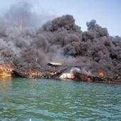 آتش گرفتن لنج ایرانی در اسکله شارجه + فیلم